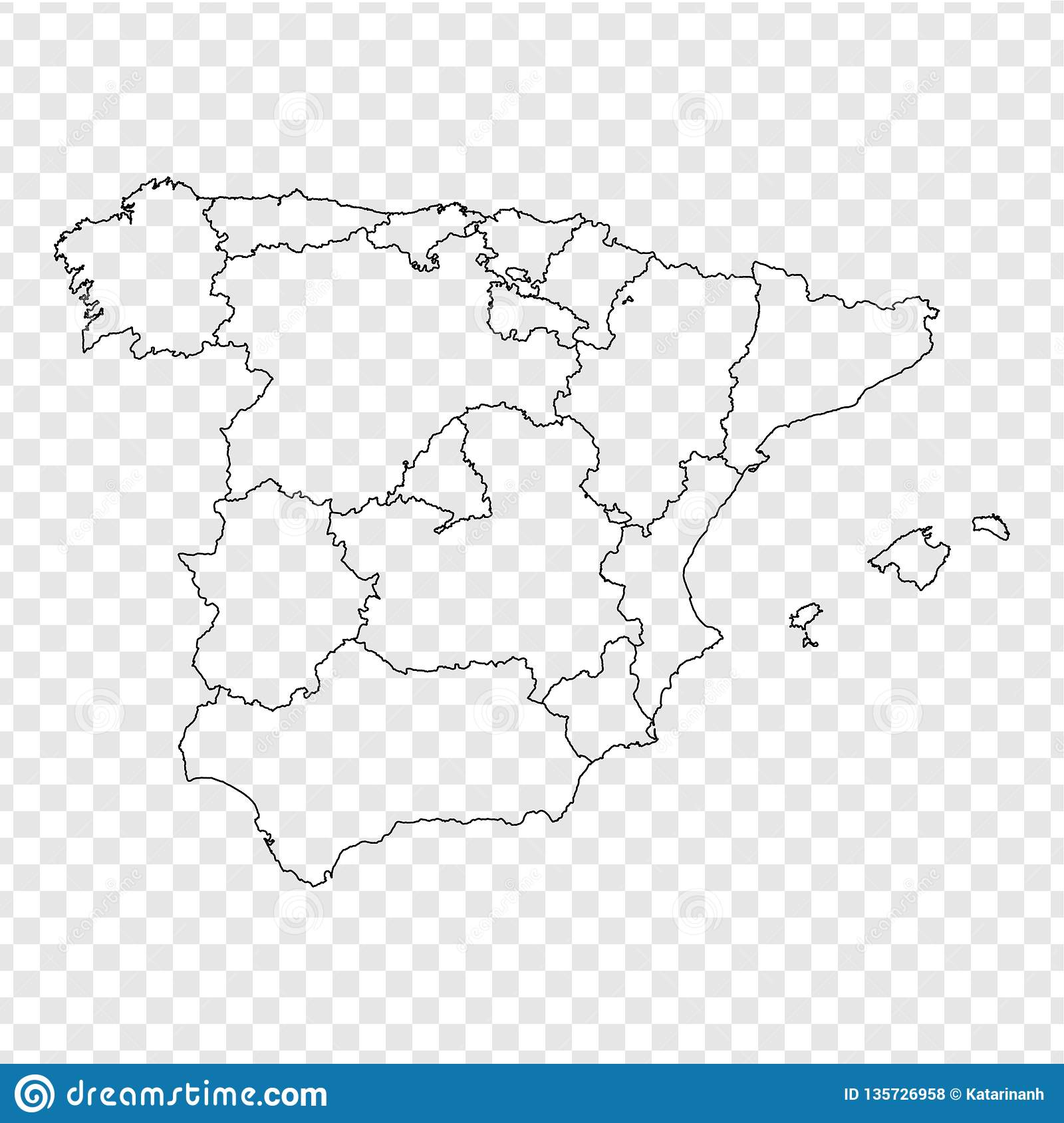 Blank Map Spain High Quality Map Spain With Provinces On