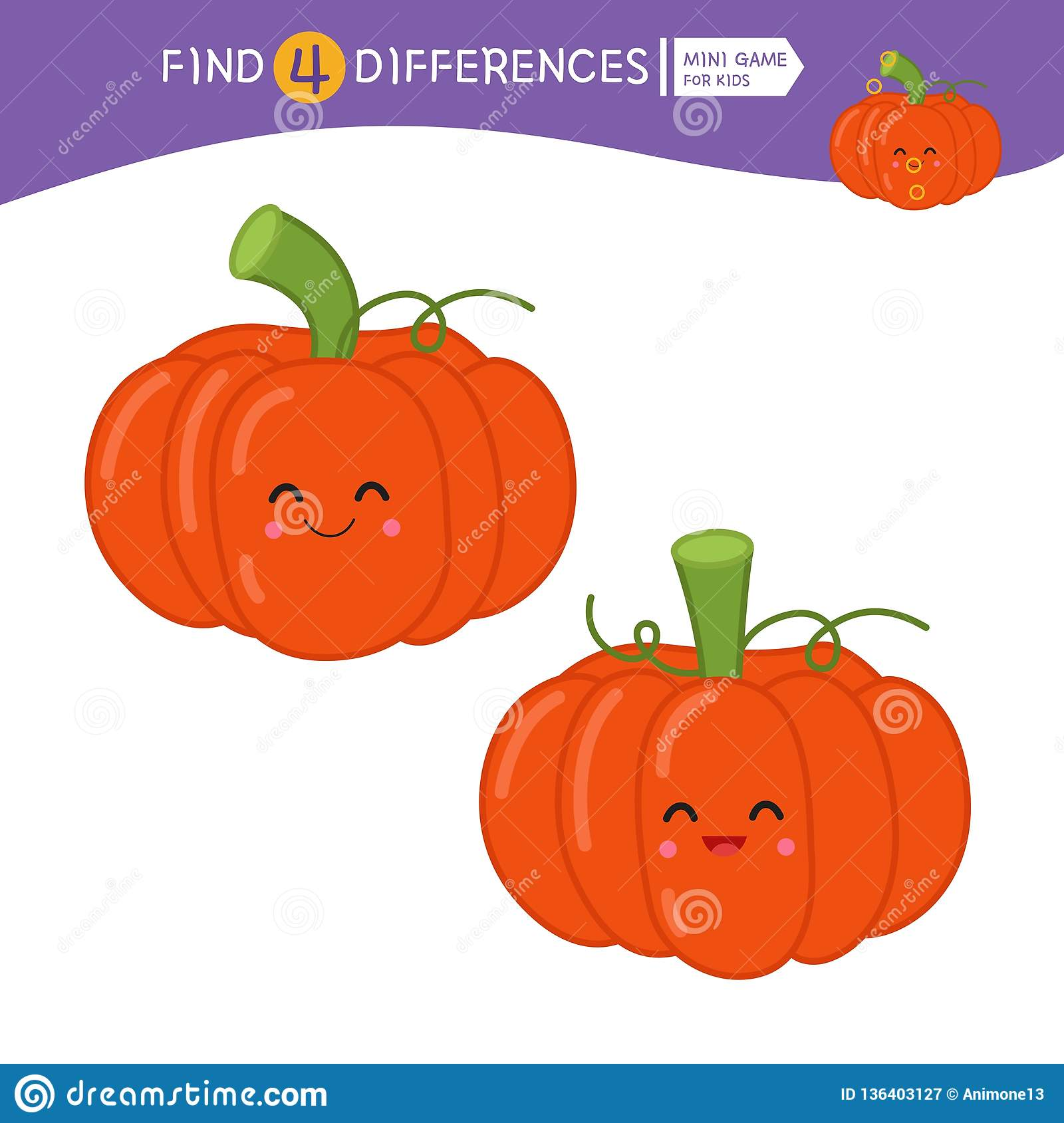 Halloween Find The 7 Differences Visual Puzzle Cartoon Vector
