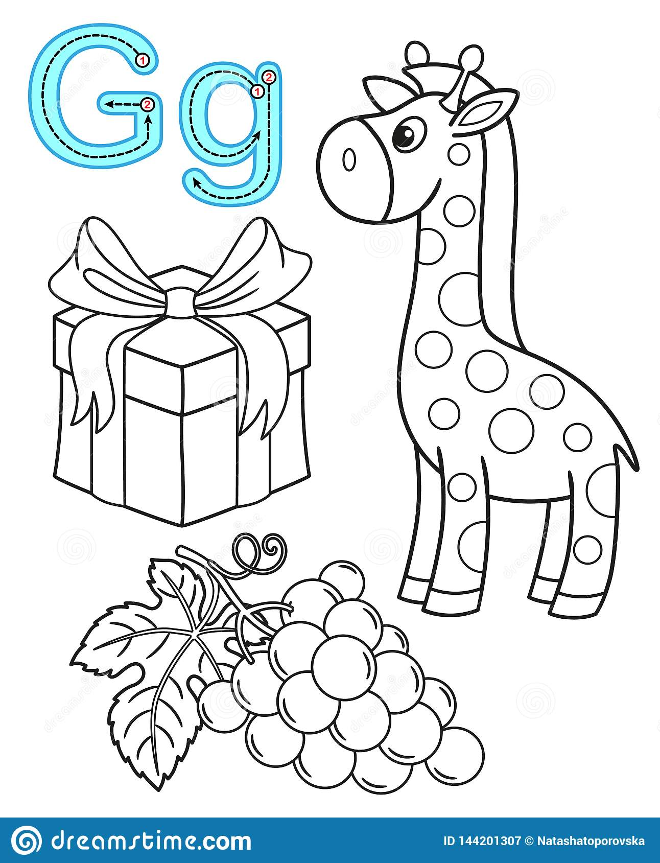 Printable Coloring Page For Kindergarten And Preschool Card For Study English Vector Coloring