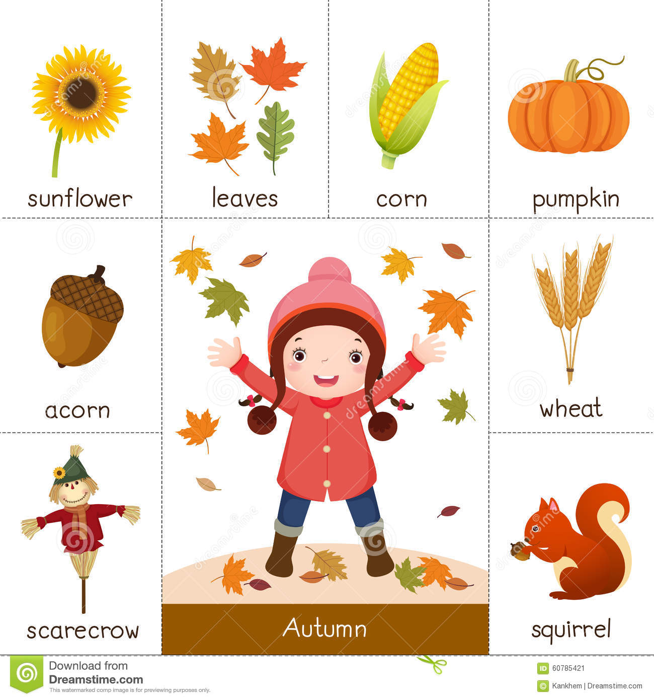 Printable Flash Card For Autumn And Little Girl Playing