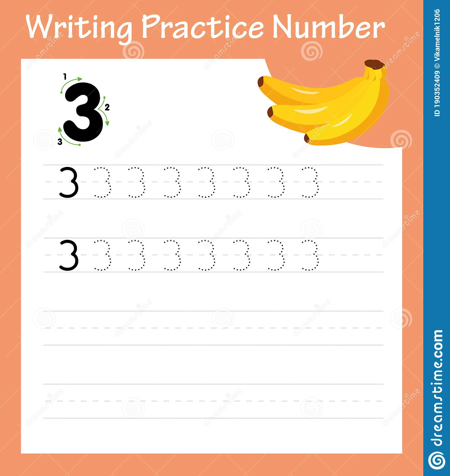 Writing Practice Number Three Stock Vector