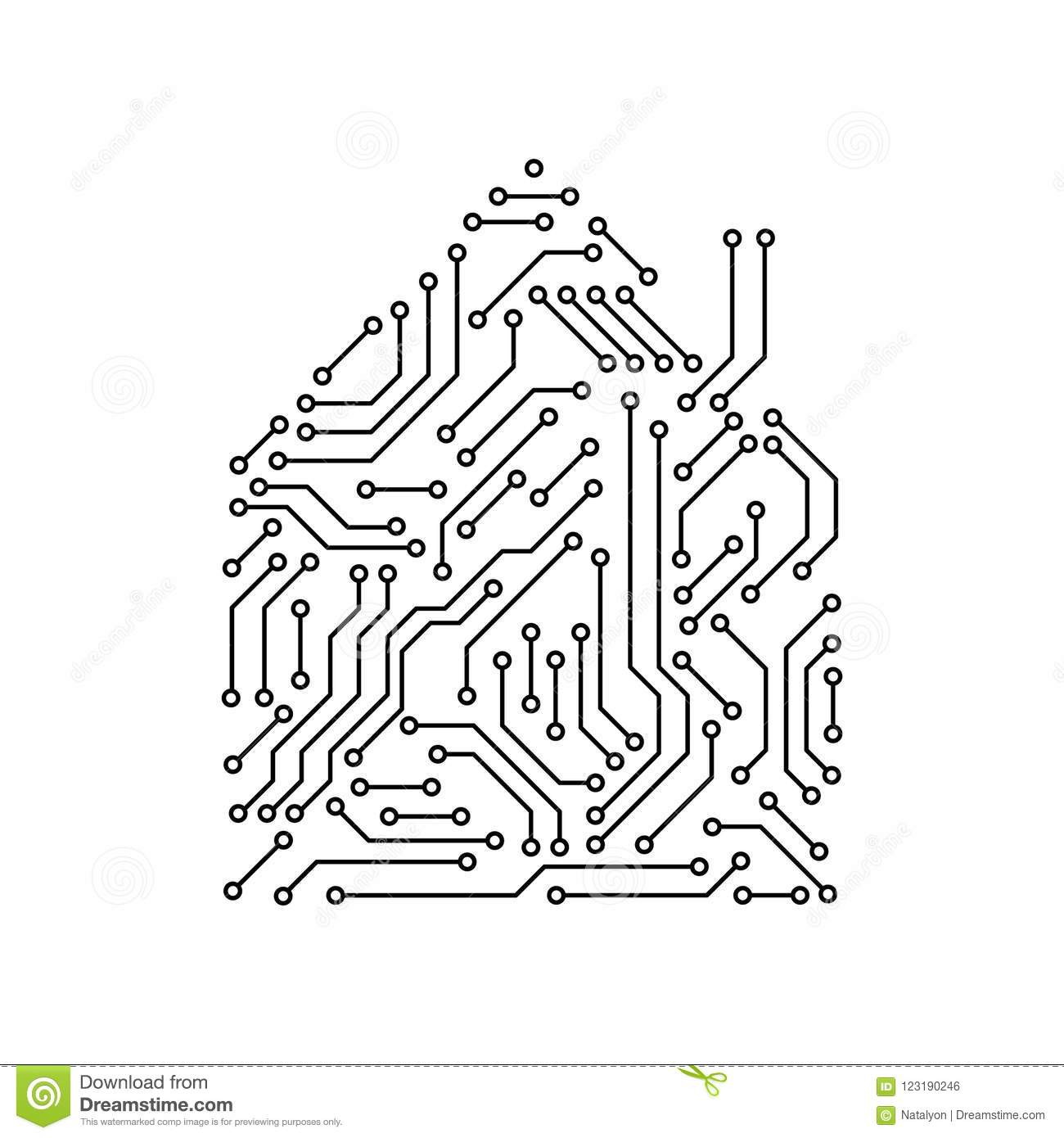 Printed Circuit Board Black And White House Shape Computer