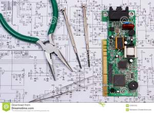 Printed Circuit Board And Precision Tools On Diagram Of