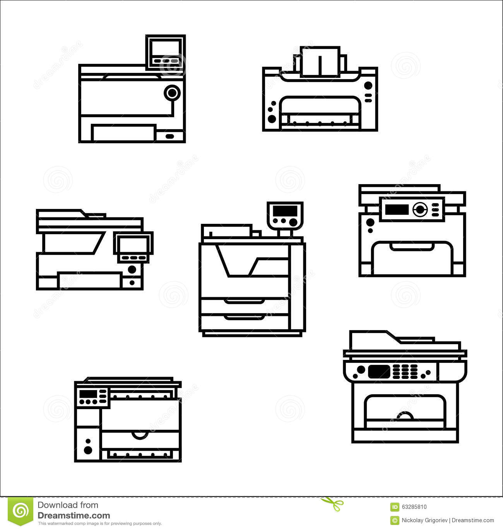 Printer Icons Stock Vector