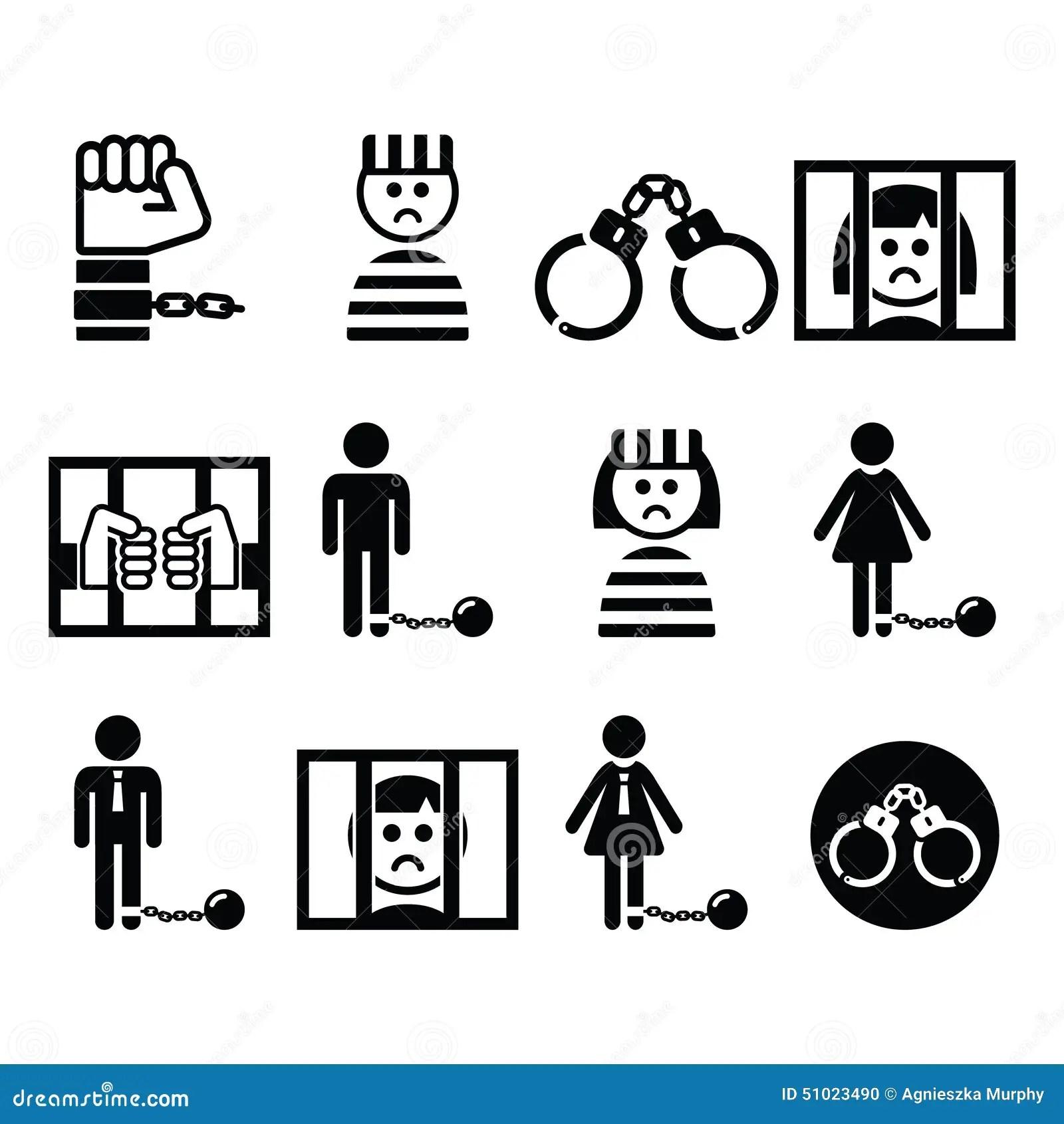 Prisoner Crime Slavery Vector Icons Set Stock Vector