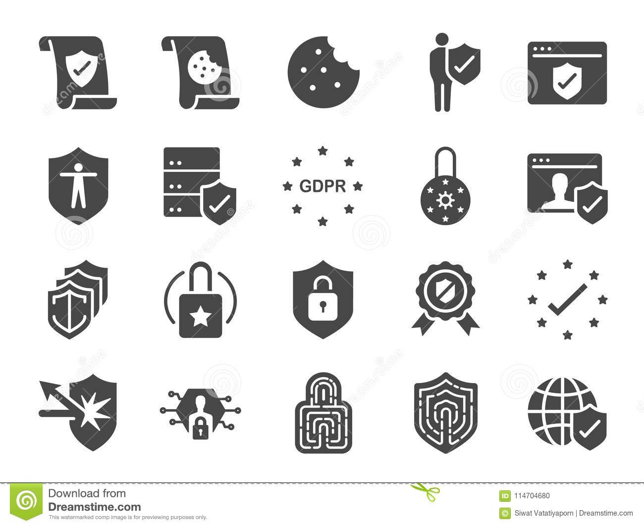 Privacy Policy Icon Set Included The Icons As Security
