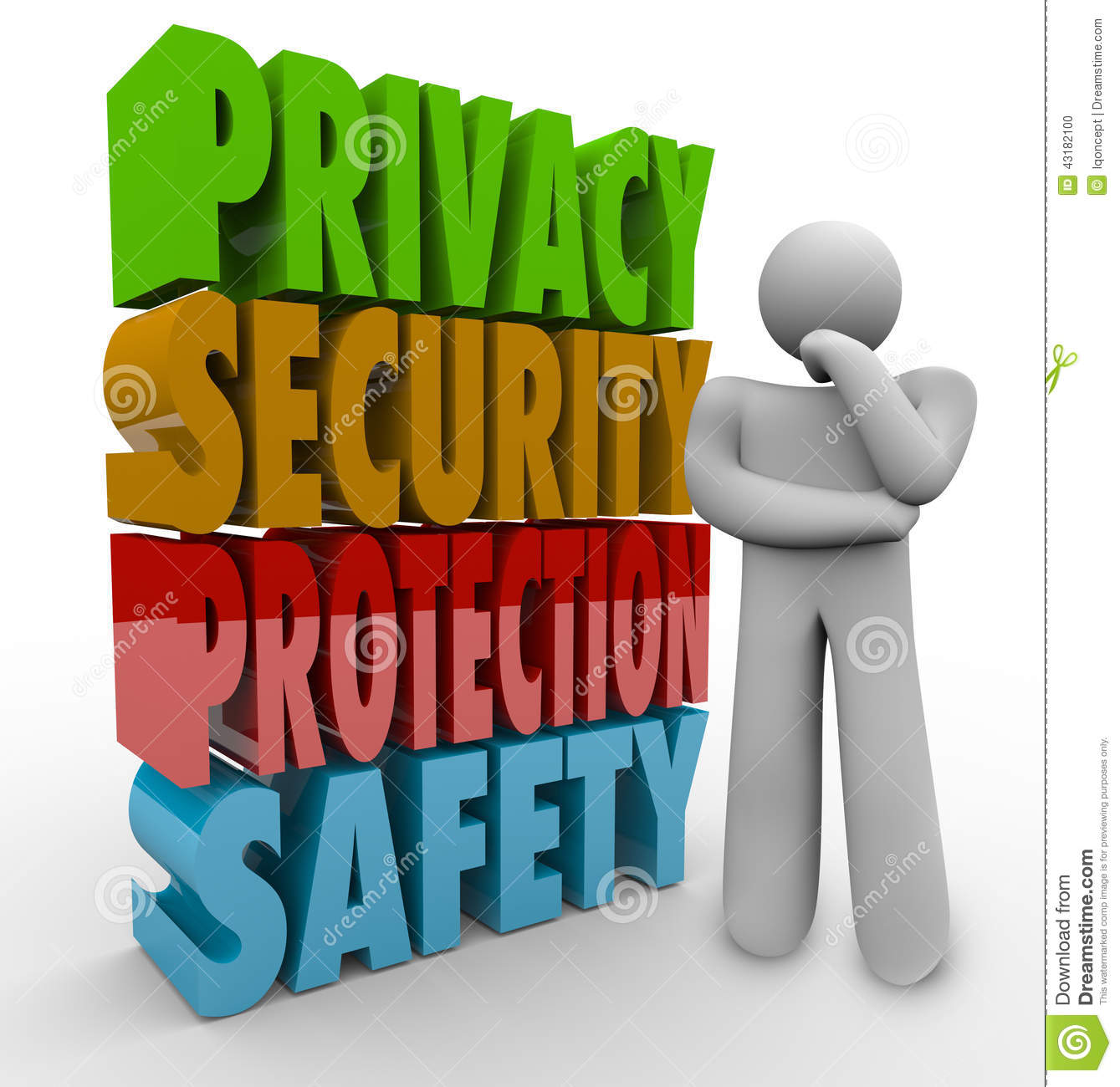 Privacy Security Protection Safety Thinker 3d Words Stock
