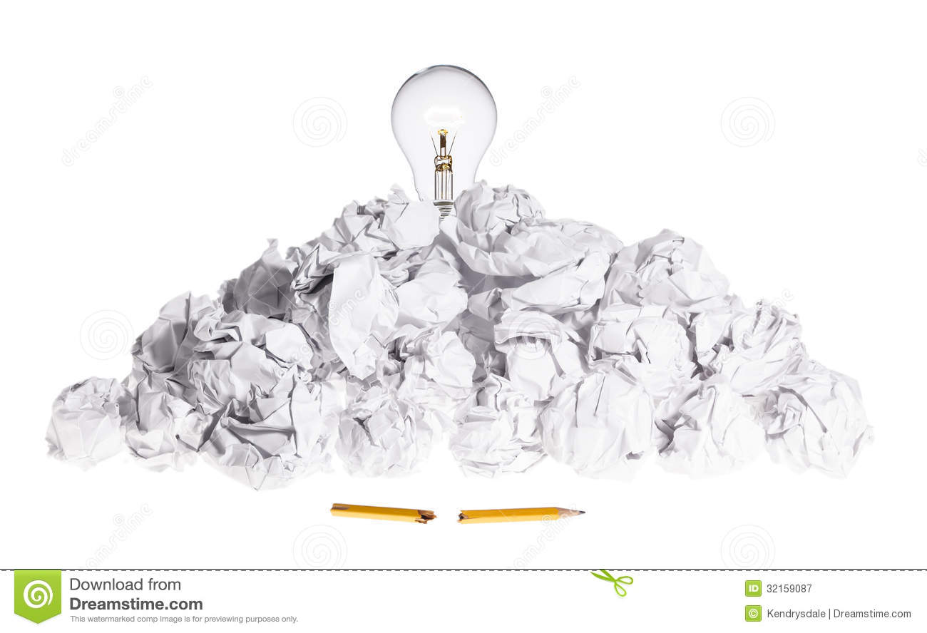Problem Solving Concept Light Bulb On Pile Of Crum Stock