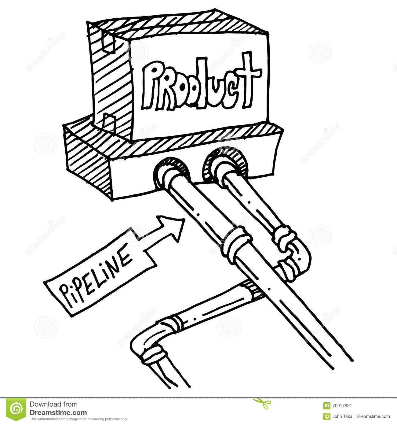 Product Pipeline Drawing Stock Vector