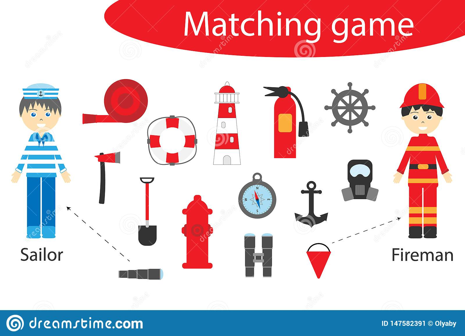 Profession Matching Game For Children Connect Things With