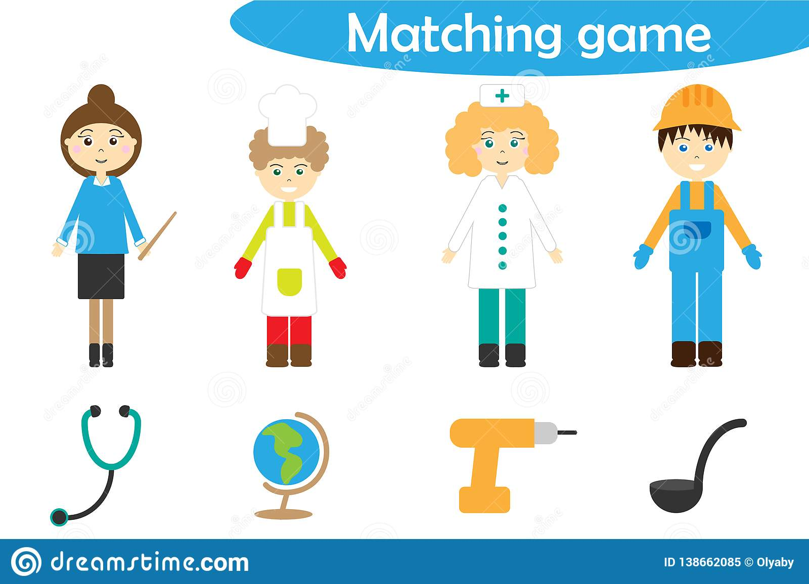 Profession Matching Game For Children Connect Things With Need Profession Preschool Worksheet