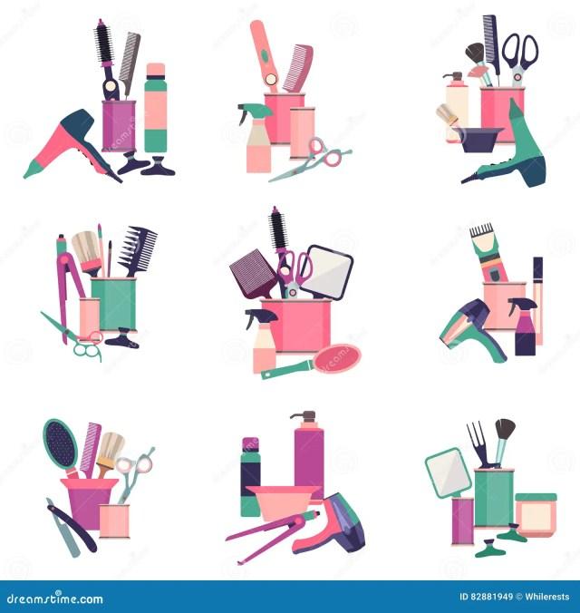Barber Tools  And Haircut  Icons Set Vector Illustration