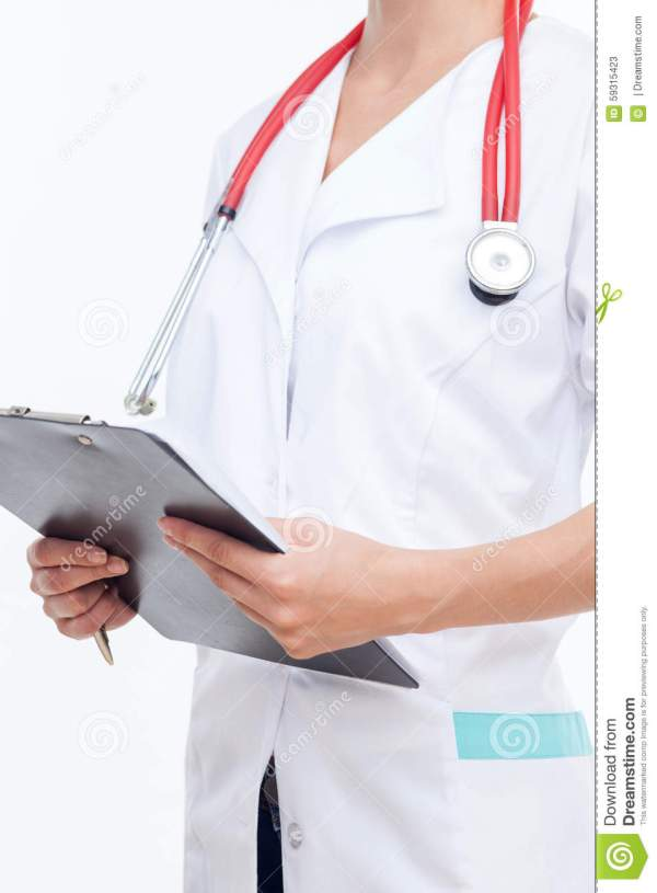 Professional Young Female Doctor Is Working Hard Stock ...