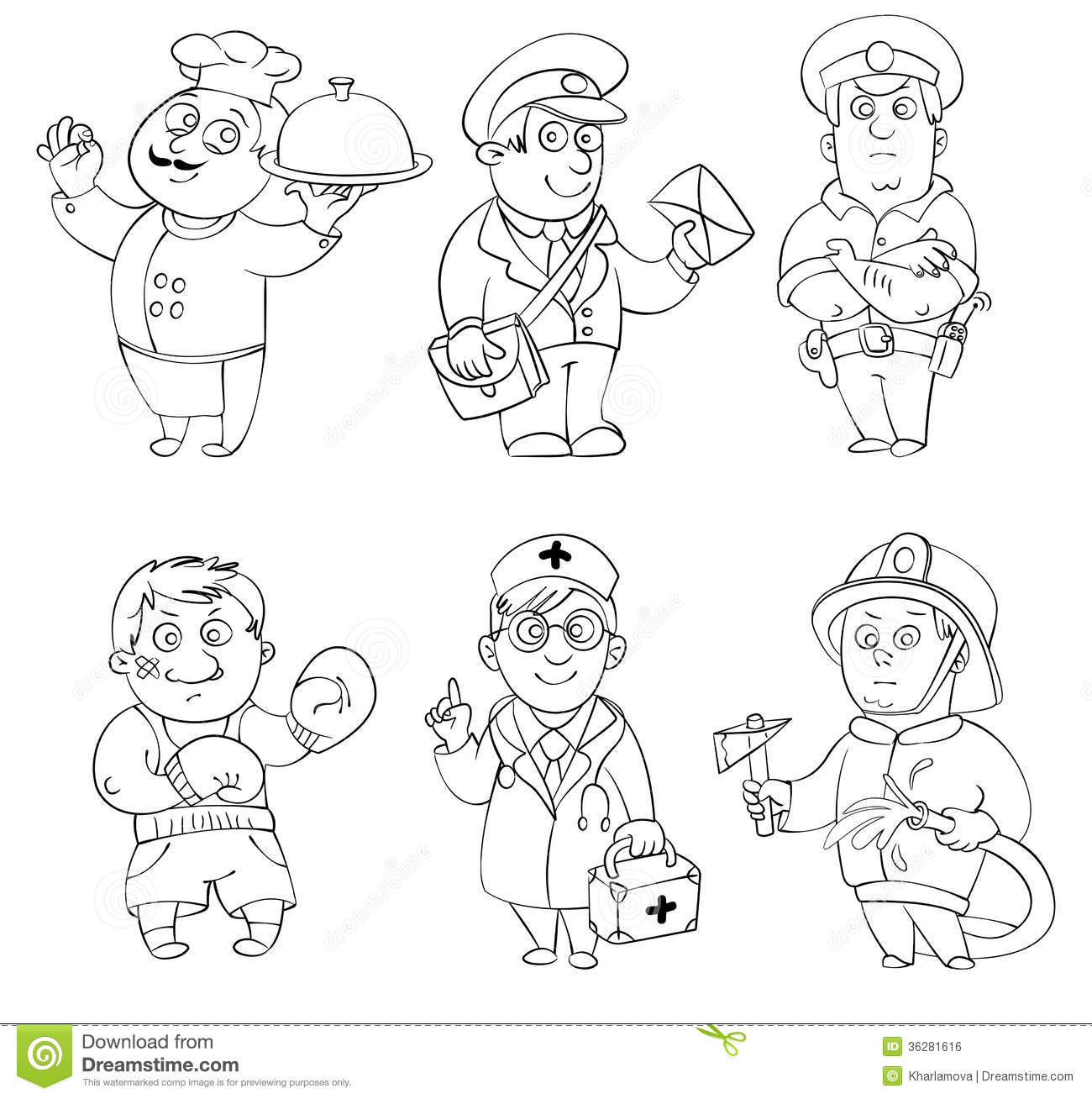 Professions Coloring Book Stock Vector Illustration Of Boxer