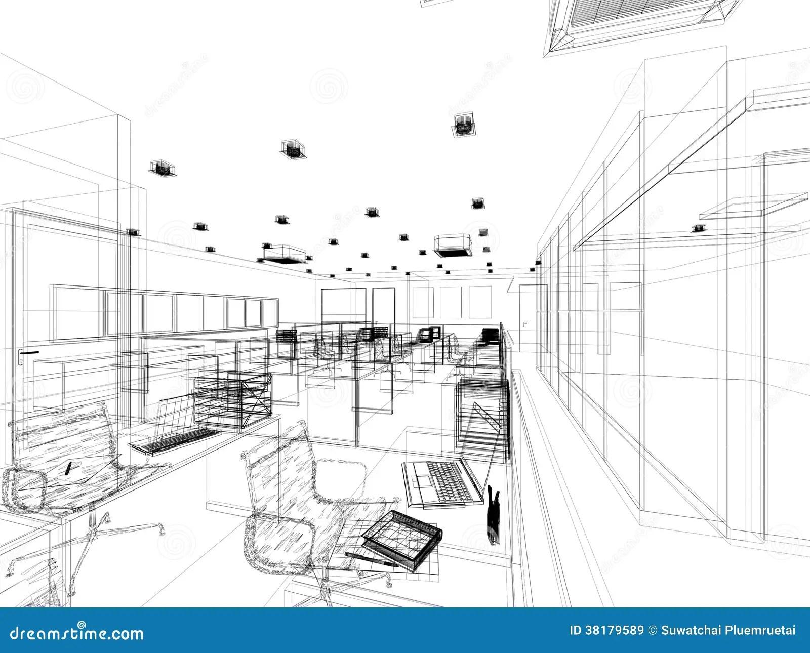 Progettazione Di Schizzo Dell Ufficio Interno