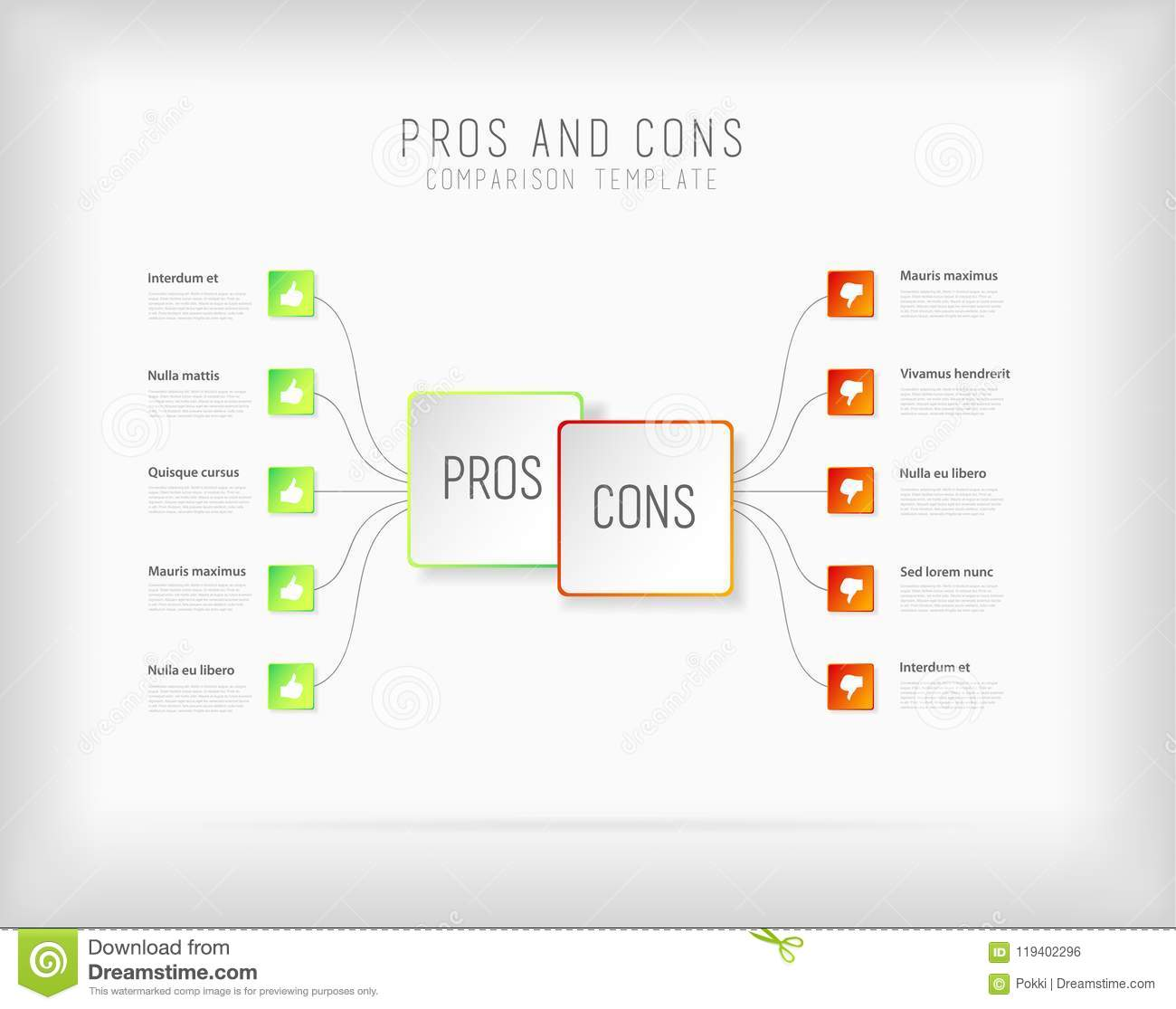 Pros And Cons Comparison Vector Template Stock Vector