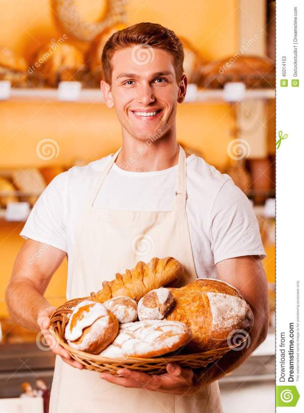 Proud of his baked goods. stock image. Image of cheerful ...