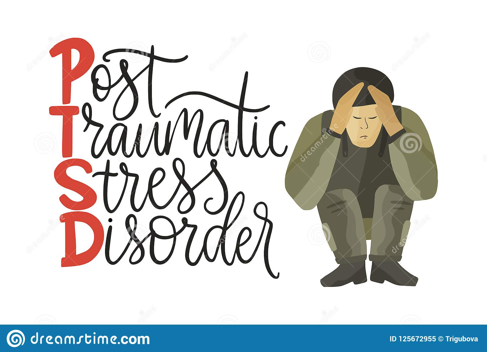 Ptsd Post Traumatic Stress Disorder Vector Illustration