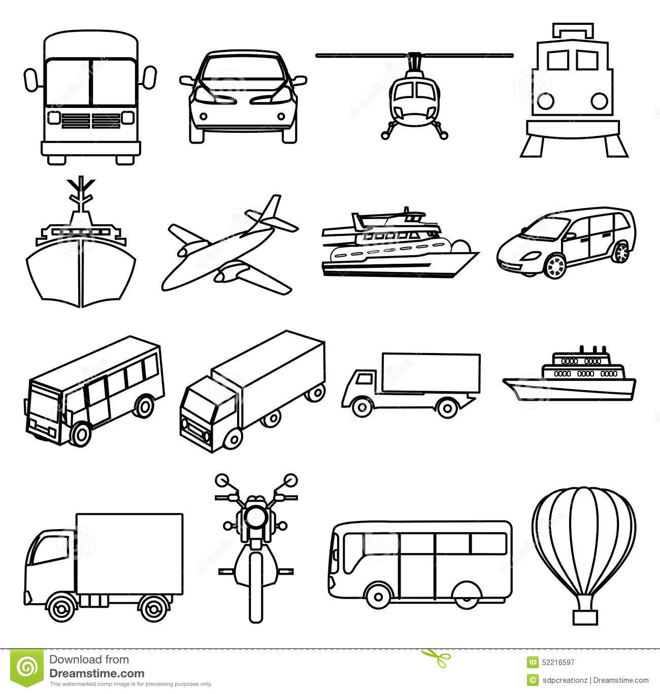 Public Transport Vehicles Line Icons Set Stock Vector
