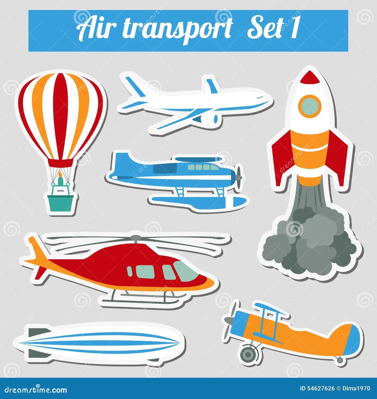 Public Transportation Air Transportation Icon Set Stock