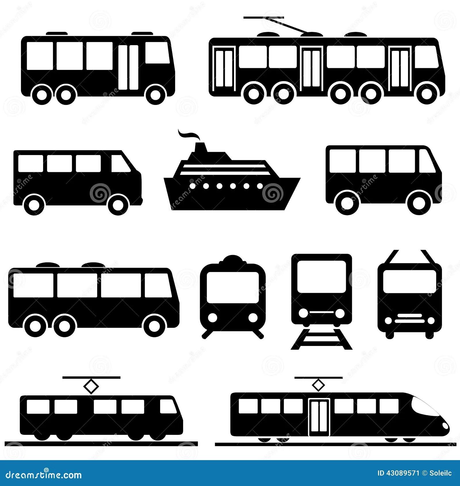 Public Transportation Icon Set Stock Vector