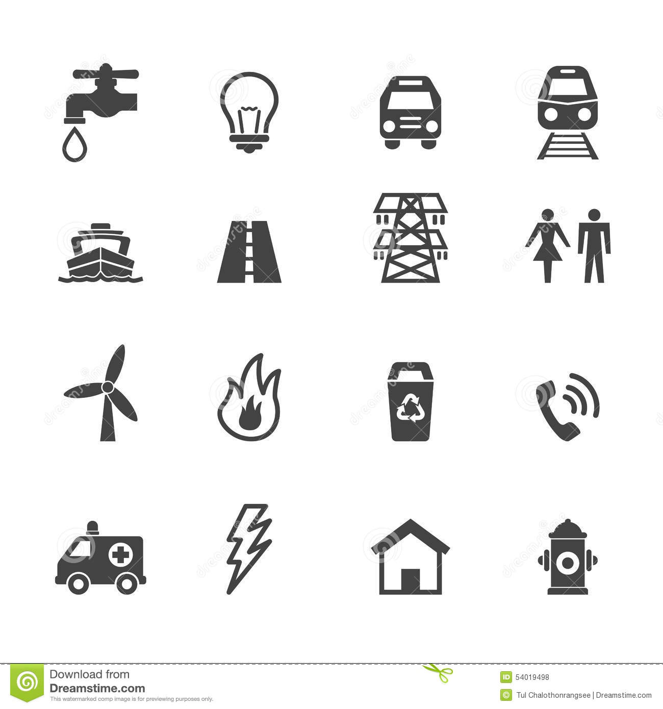 Public Utility Icons Stock Vector Illustration Of