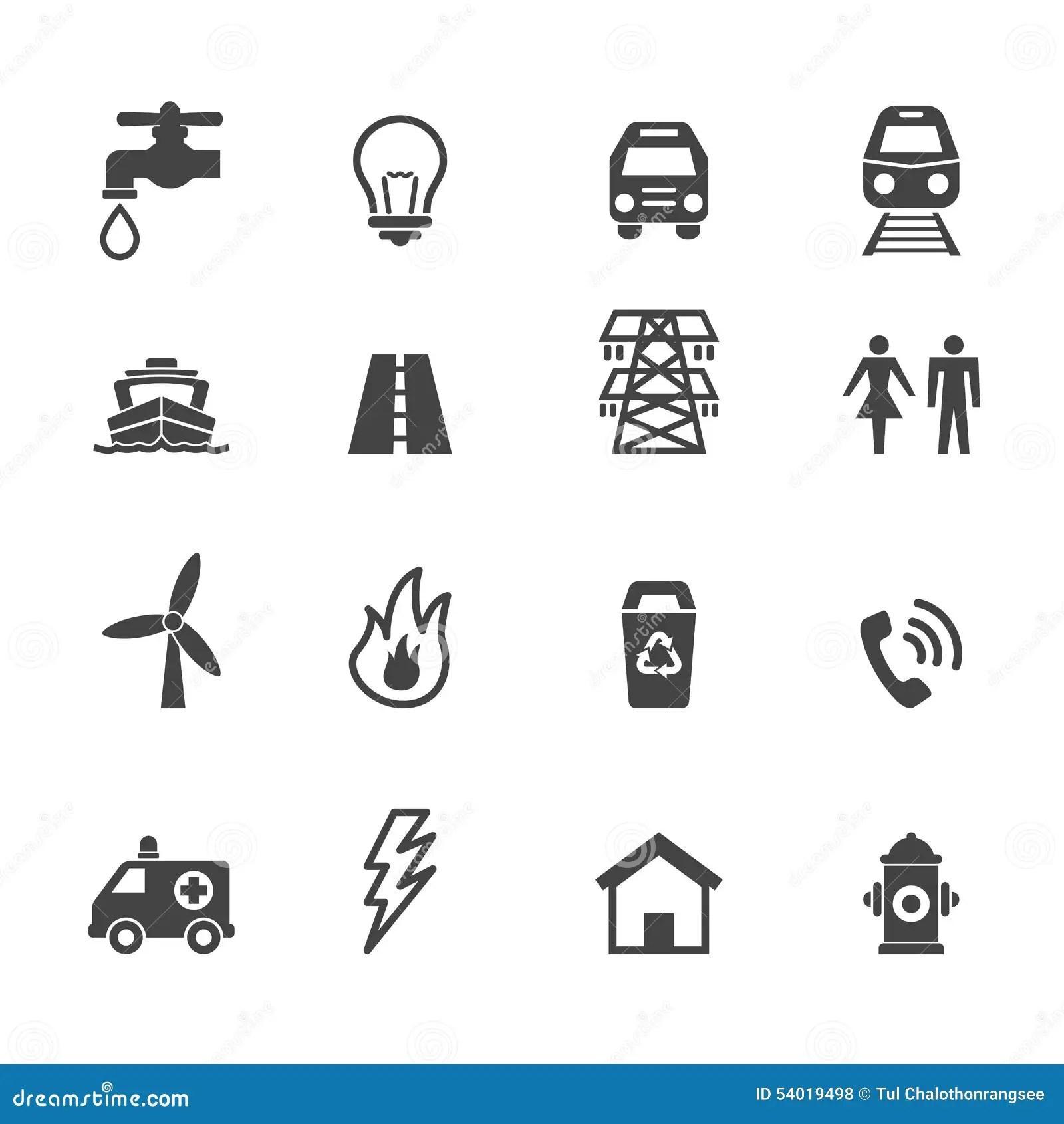 Public Utility Icons Stock Illustration