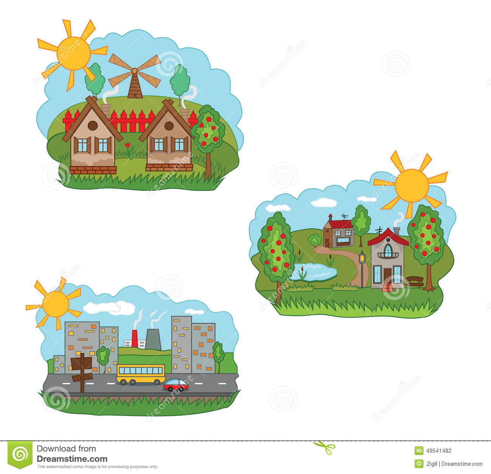 Pueblo Y Ciudad Ilustracion Del Vector Ilustracion De