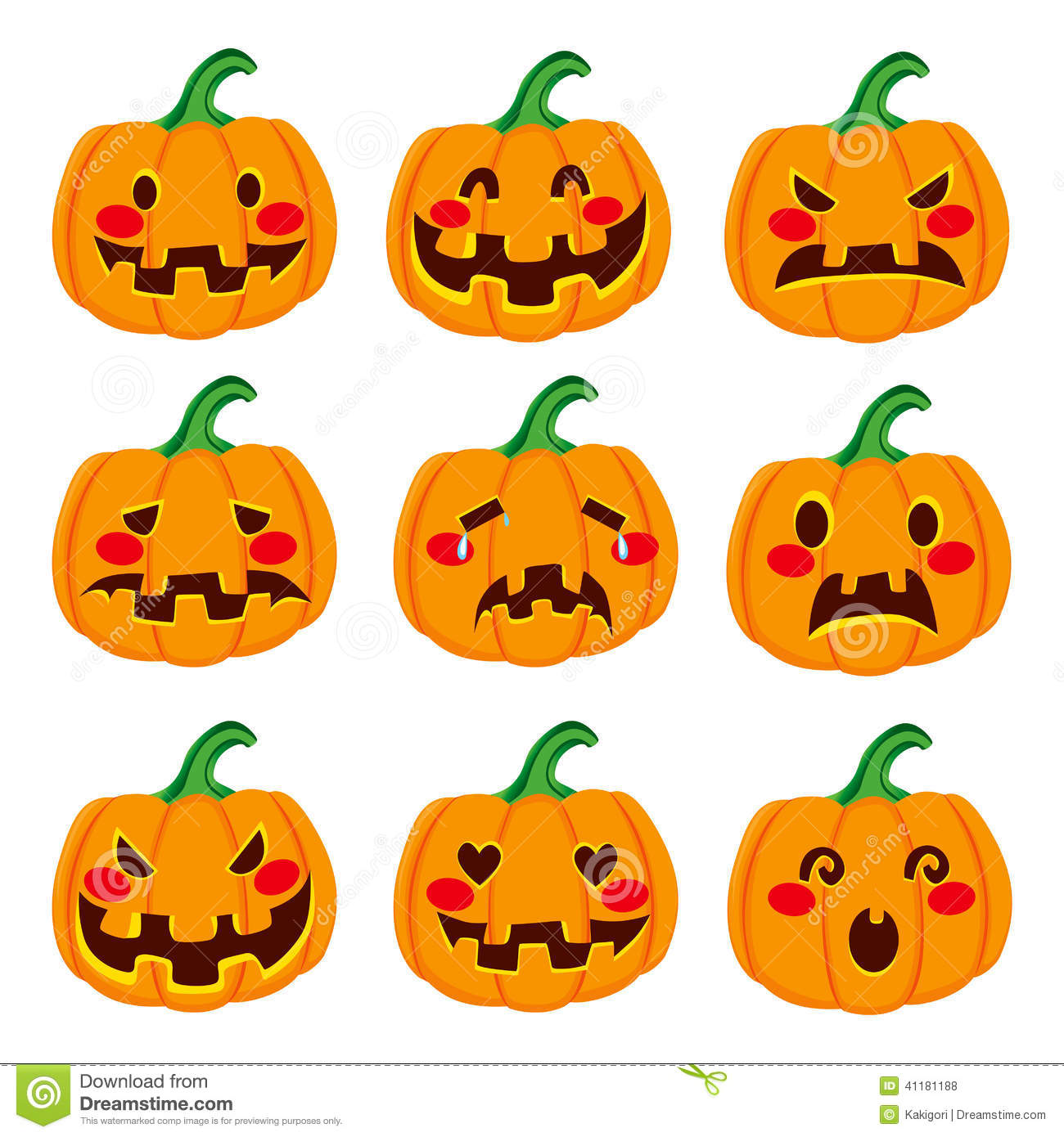 Pumpkin Face Expressions Stock Vector Illustration Of