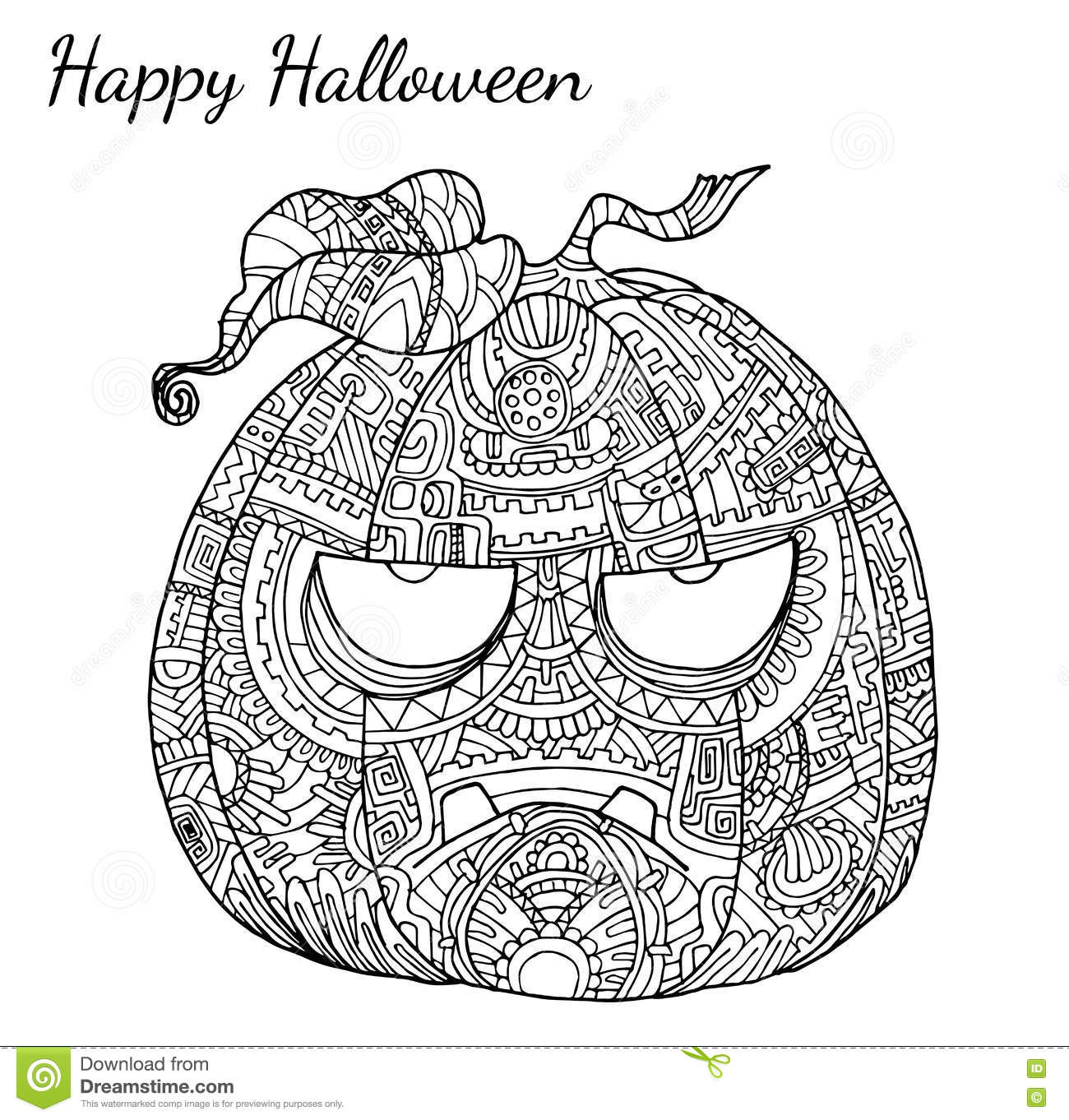 Pumpkin Zentangle Vector In Halloween Stock Vector