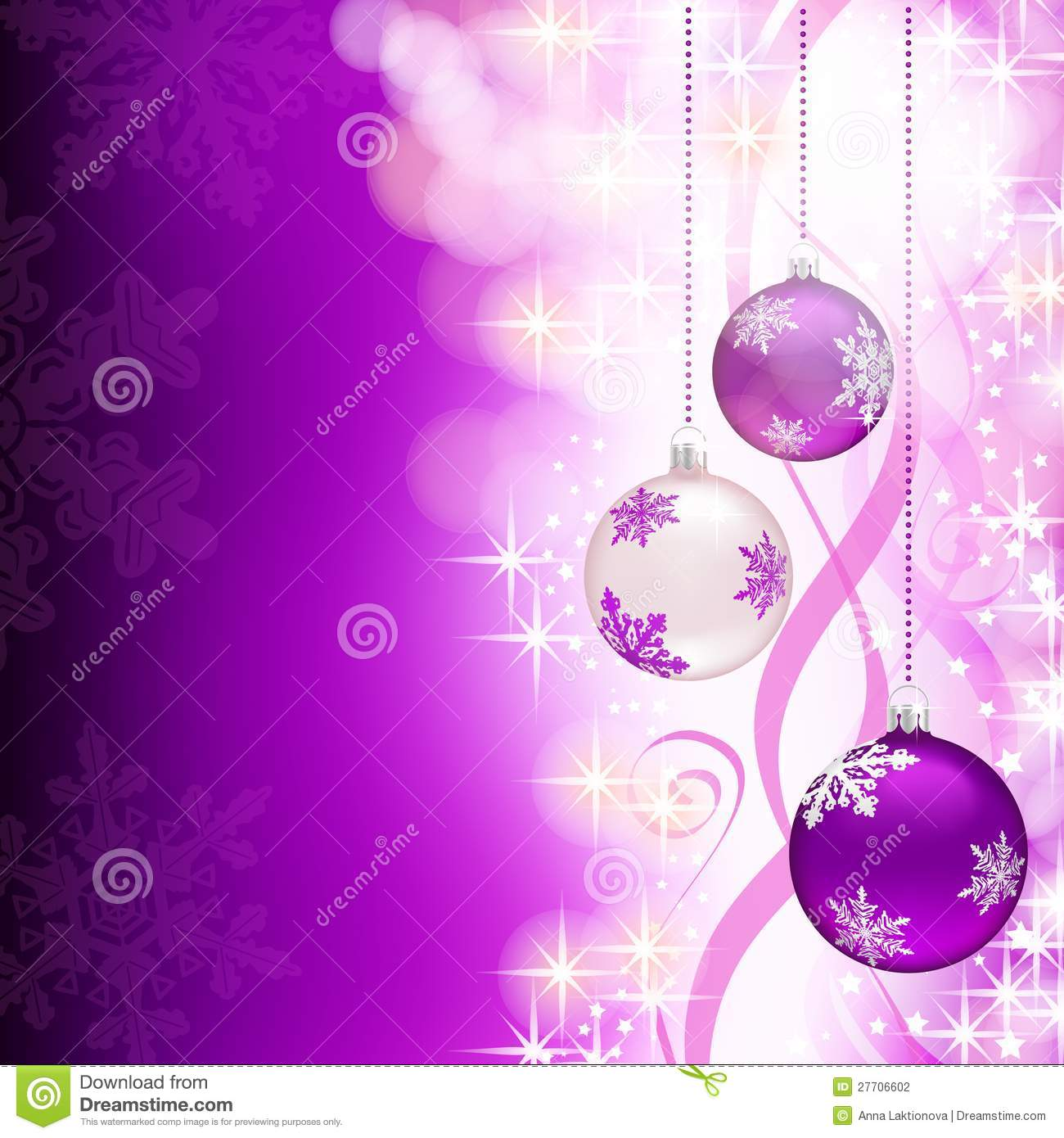 Purple Christmas Background With Decorations Stock Vector