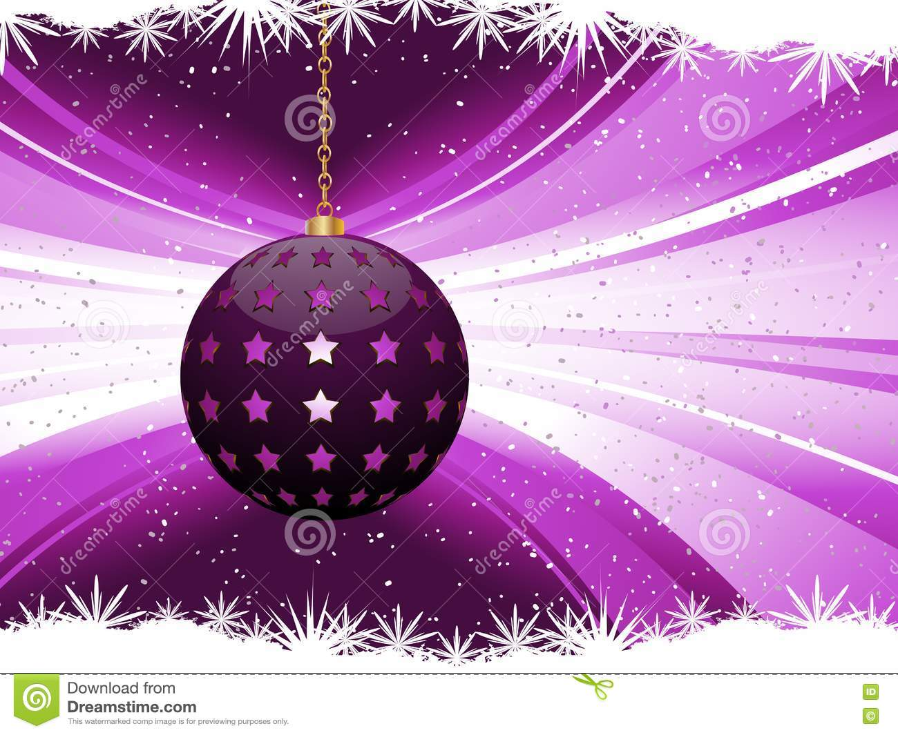 Purple Christmas Bauble Background Stock Vector Image