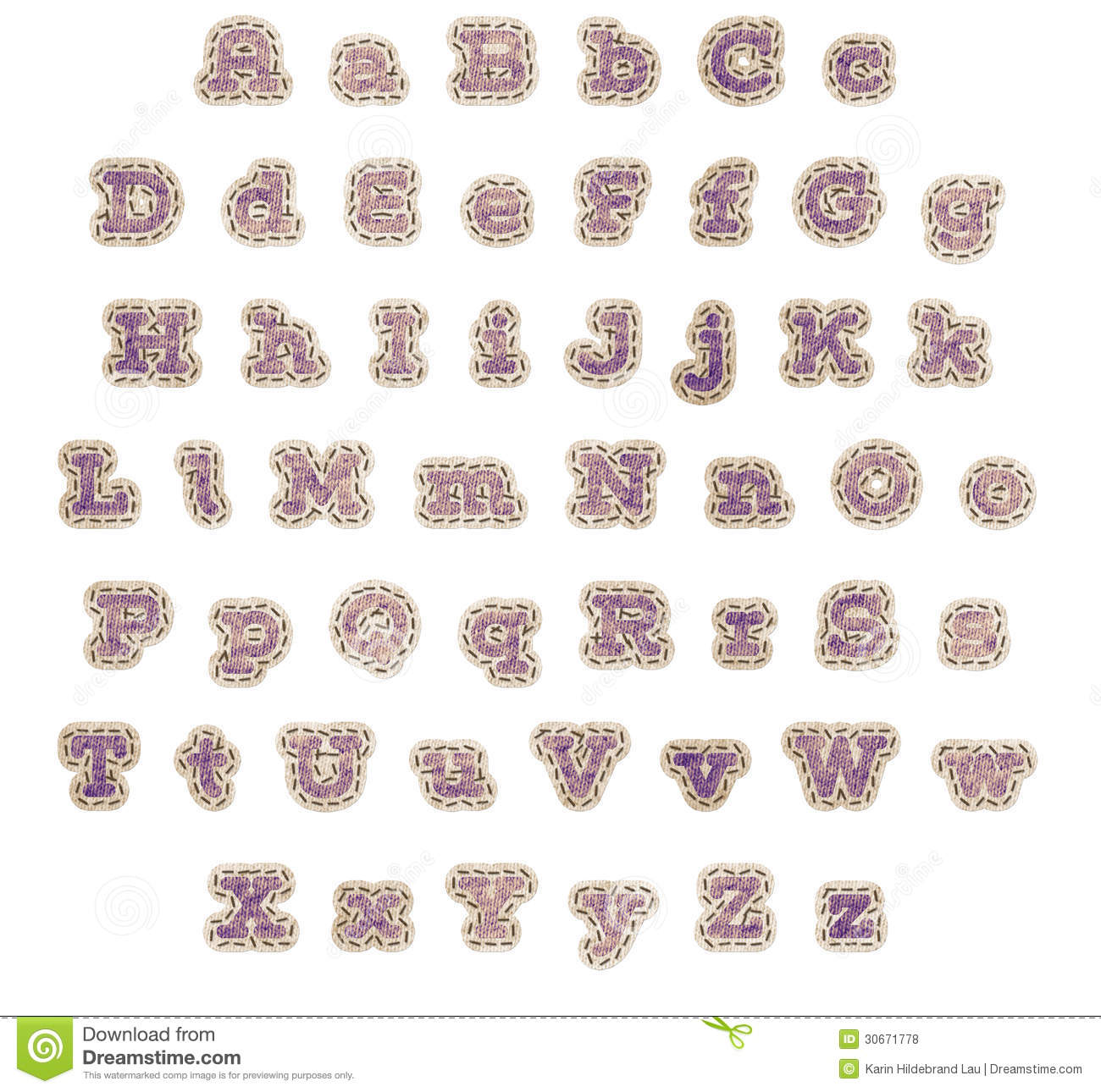 Purple Fabric Patch Alphabet Stock Illustration