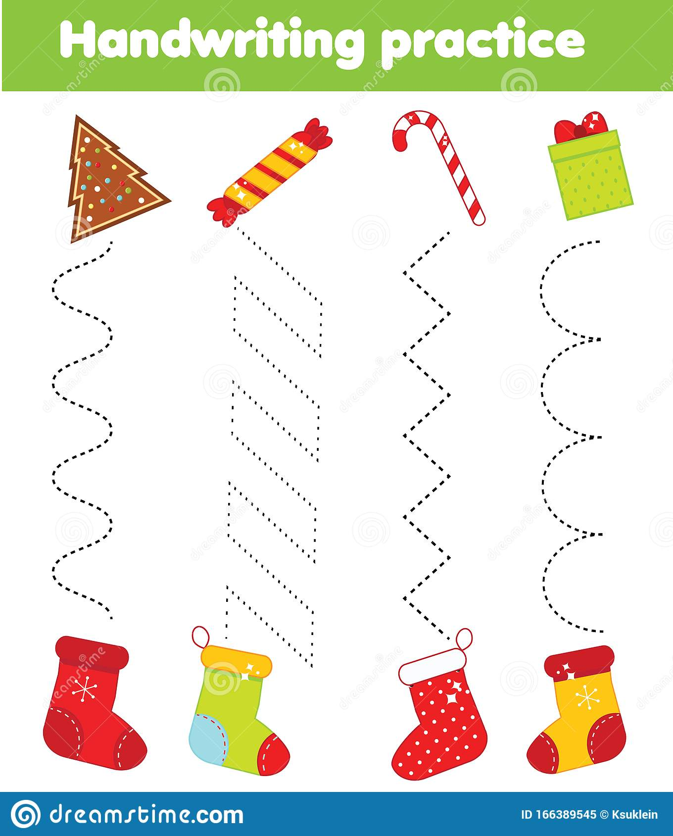 Put Ts In Stockings Handwriting Practice Sheet