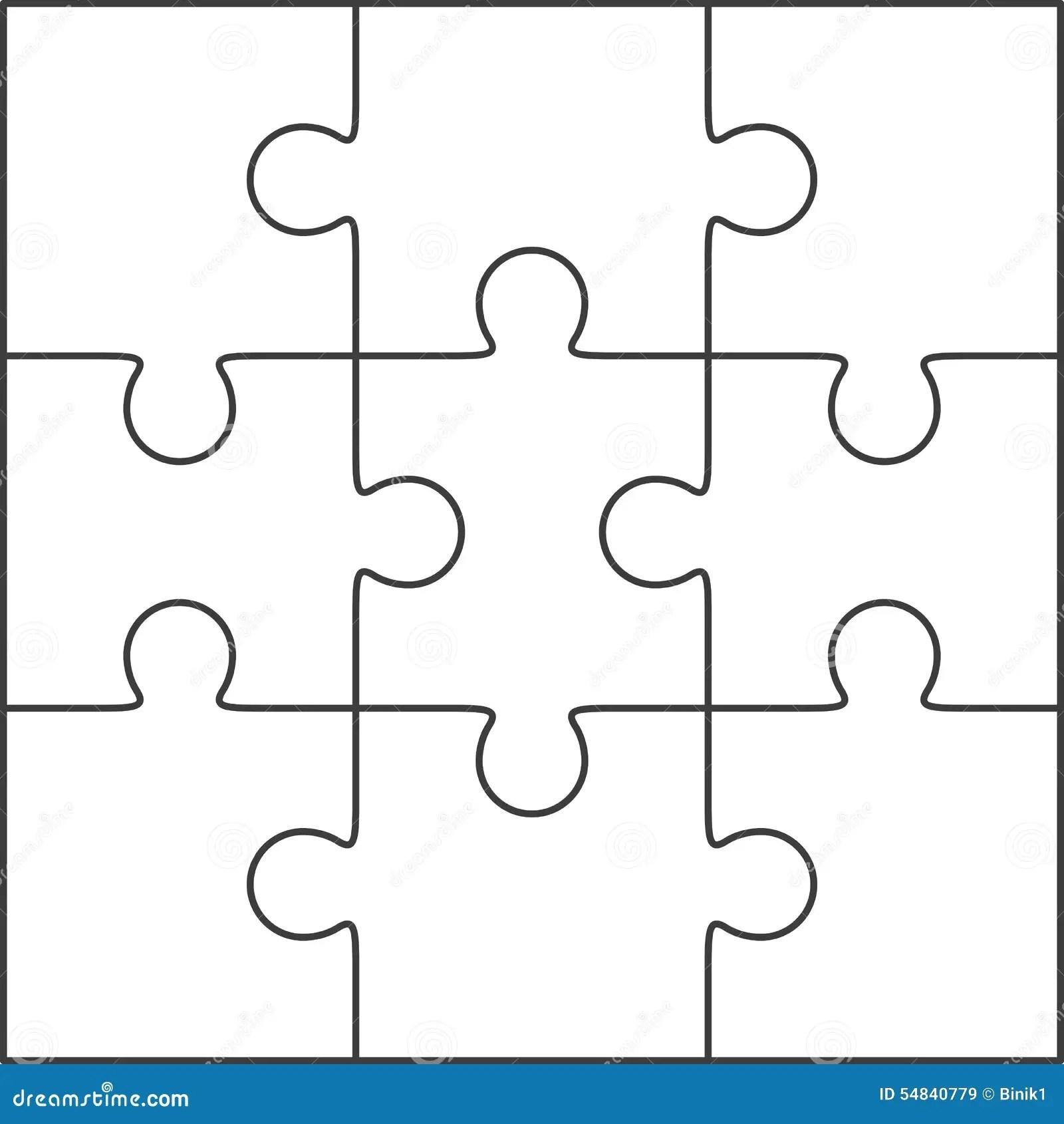 Puzzel Leeg Malplaatje 3x3 Stock Illustratie Illustratie Bestaande Uit Zwart