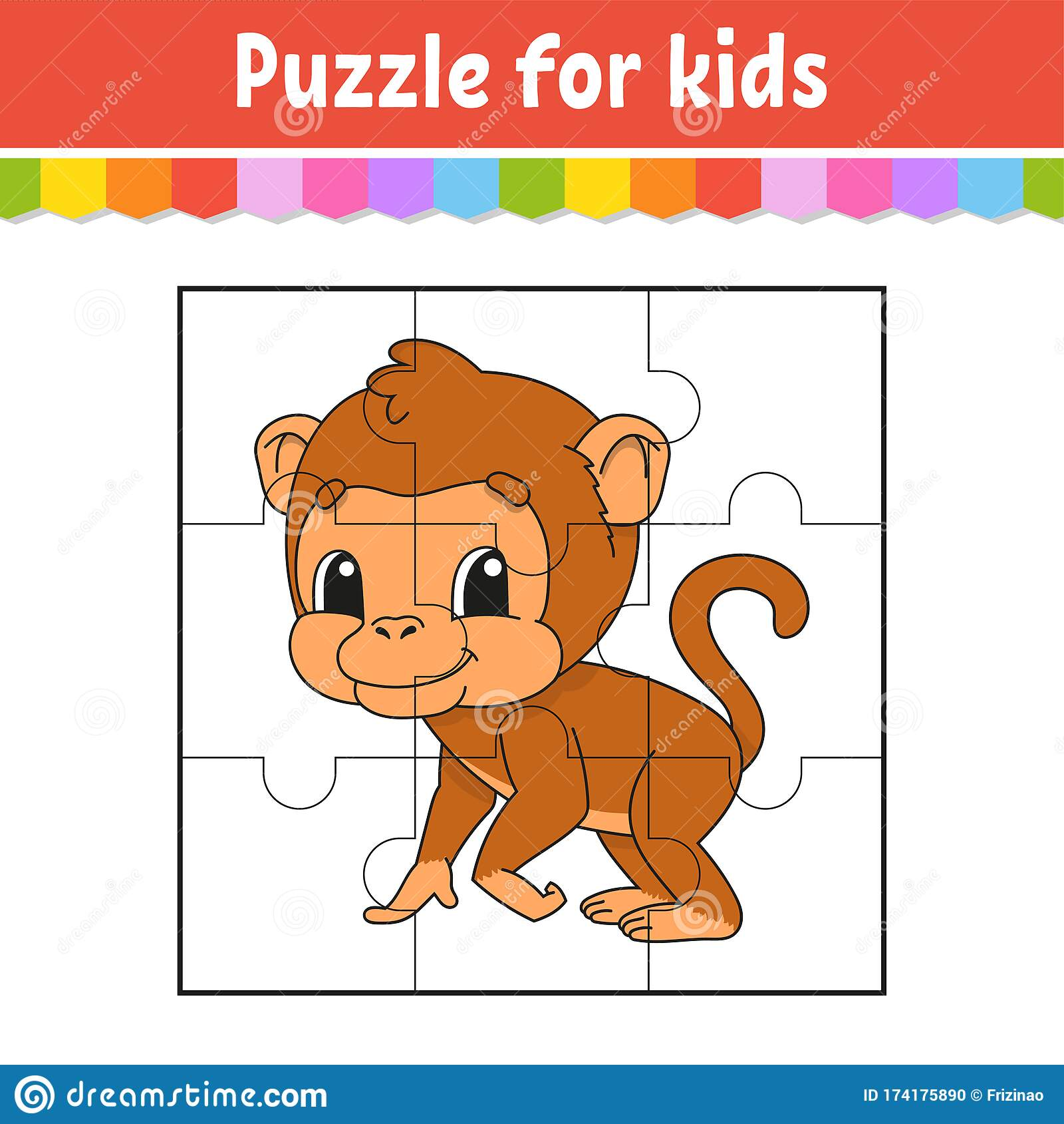 Puzzle Game For Kids Brown Monkey Education Worksheet