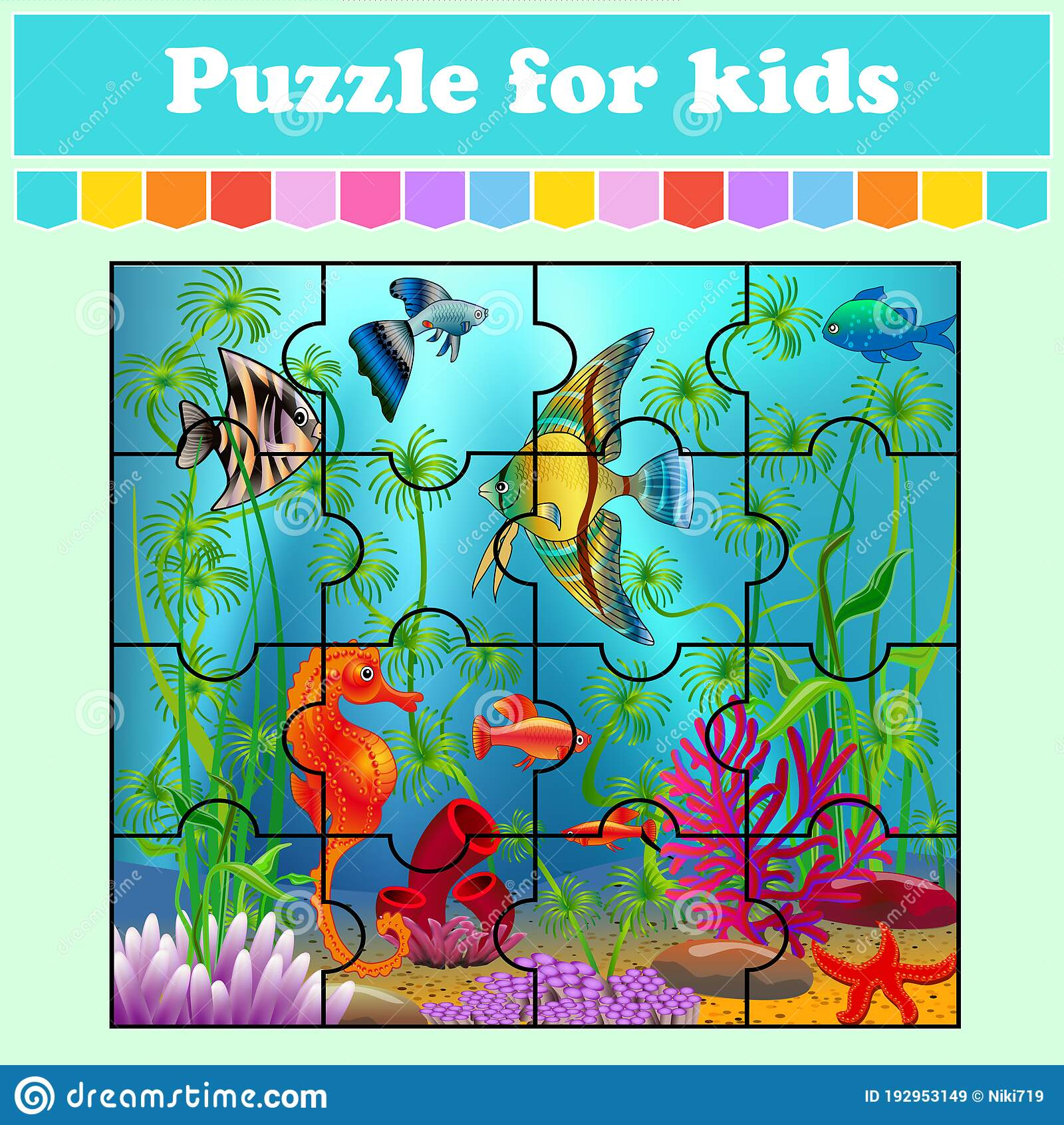 Puzzle Game For Kids Fish In The Sea Education Worksheet