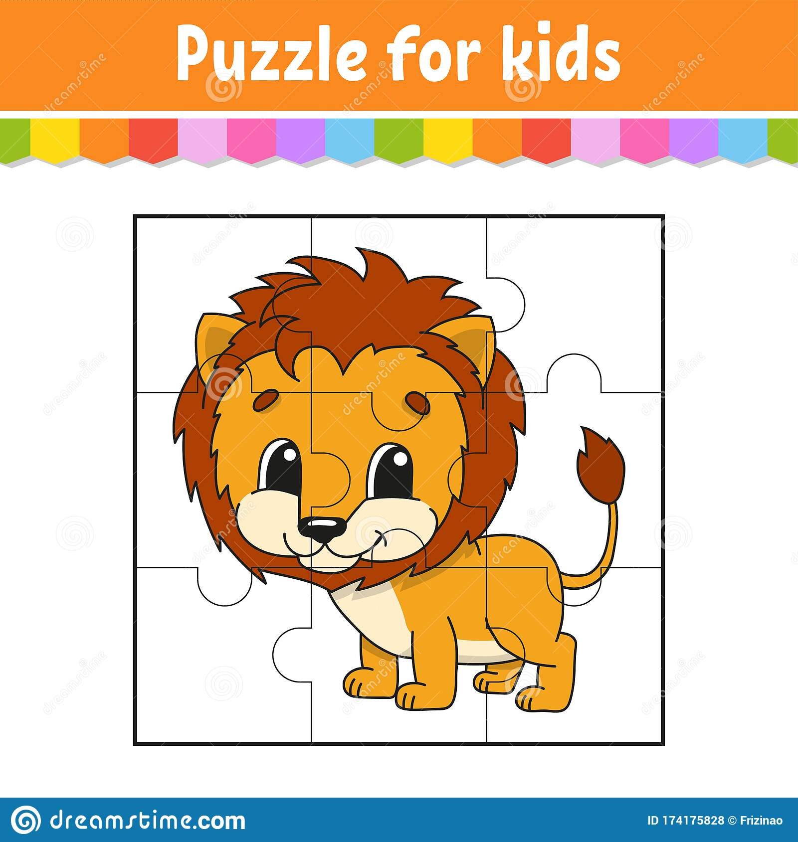 Puzzle Game For Kids Orange Lion Education Worksheet