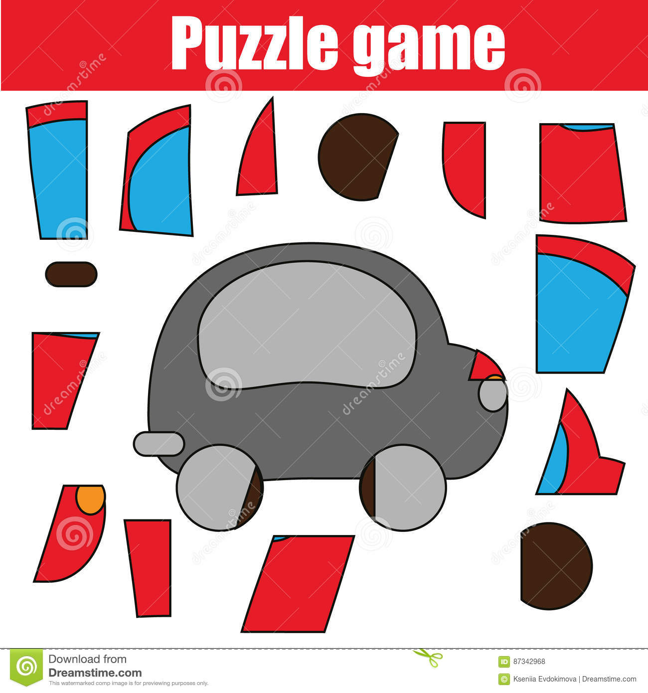Puzzle Game With Red Car Printable Kids Activity Sheet