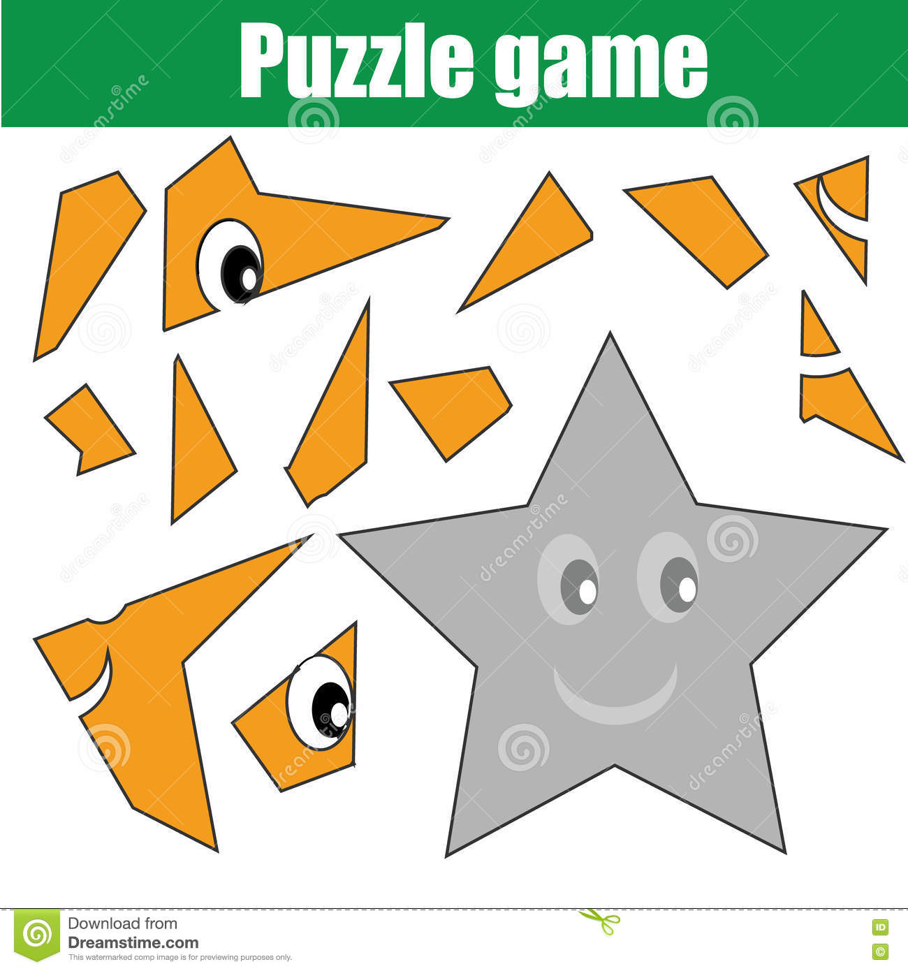 Puzzle Game With Star Shape Printable Kids Activity Sheet