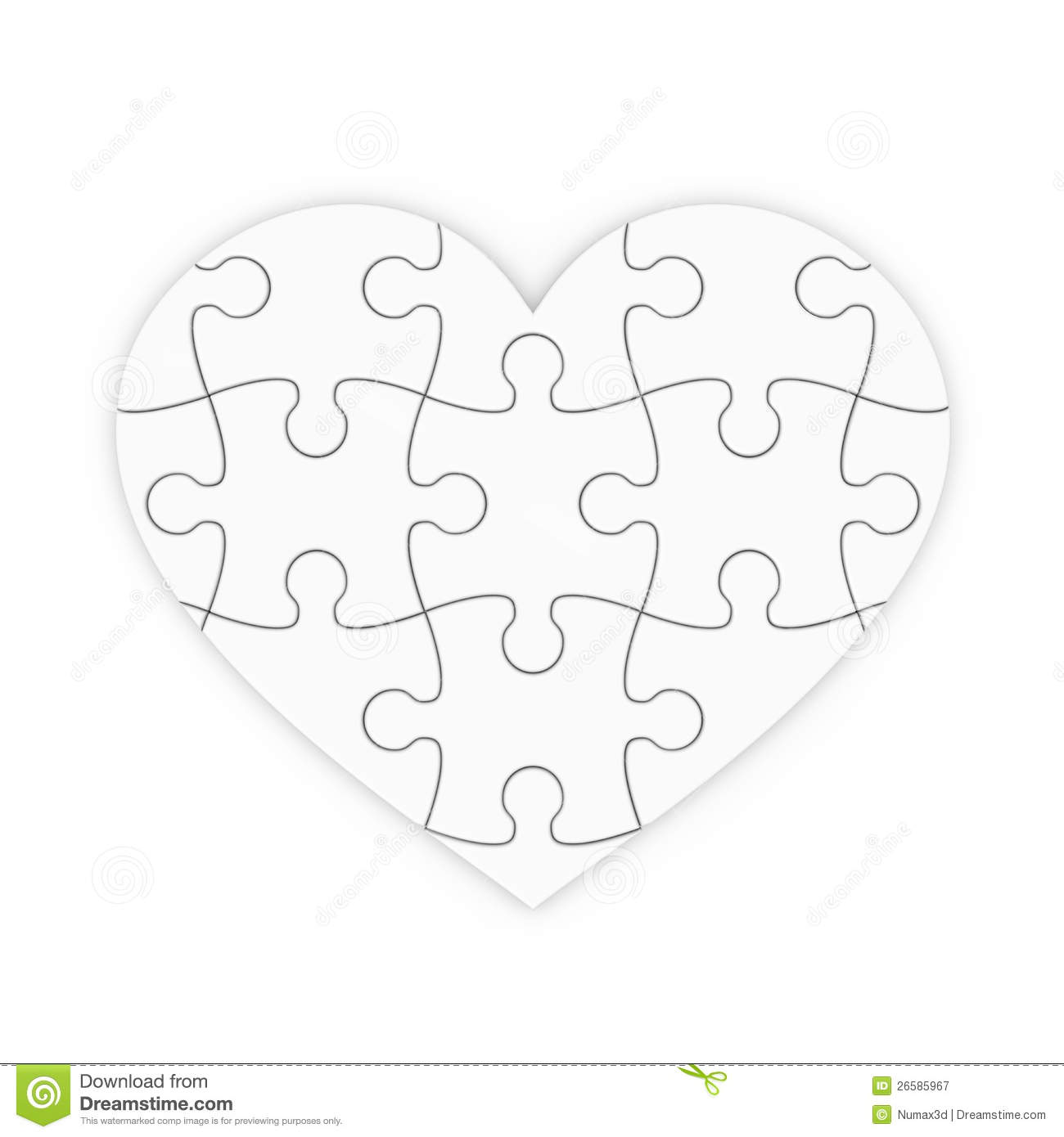 Puzzle Of A Heart Isolated Jigsaw Stock Illustration