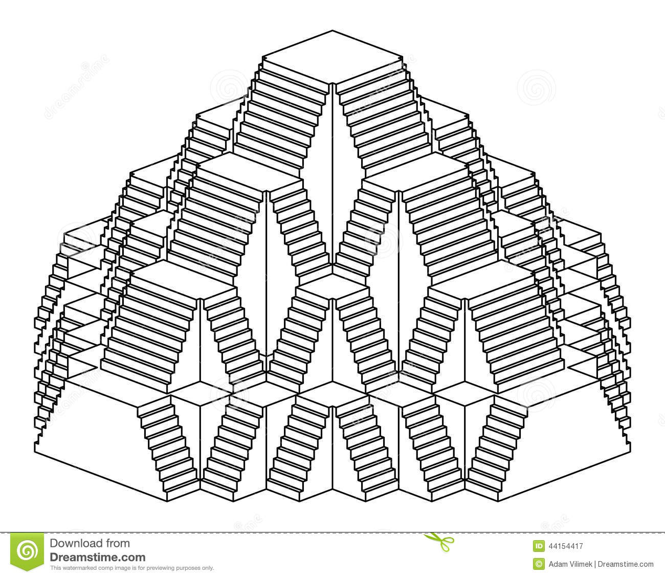 Pyramid Staircase Design Construction Line Drawing Stock