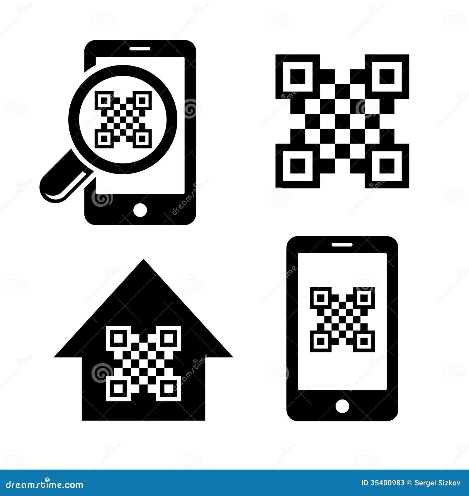 Qr Code Icons Set Stock Photos