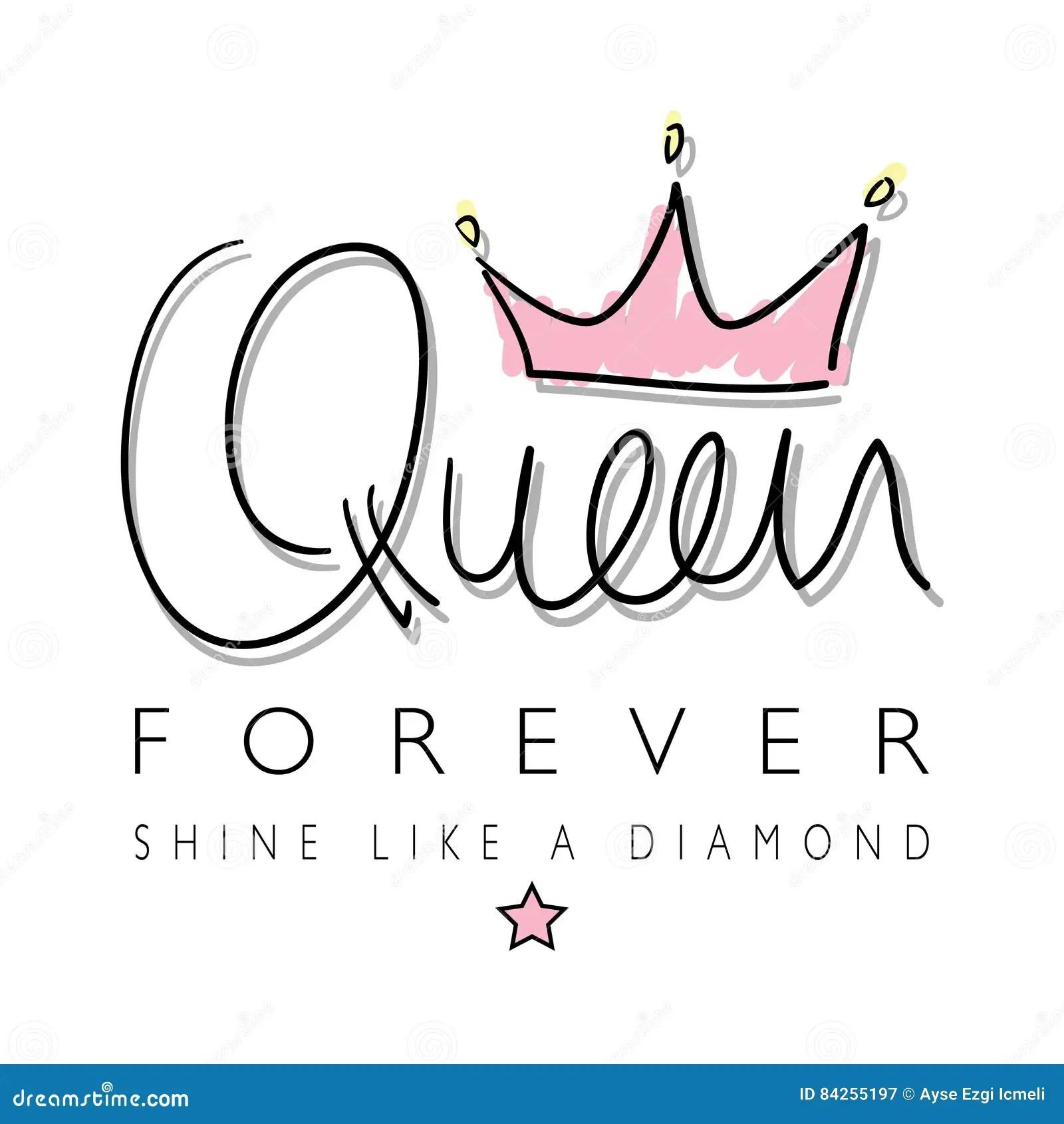 Queen Crown T Shirt Graphics Stock Vector