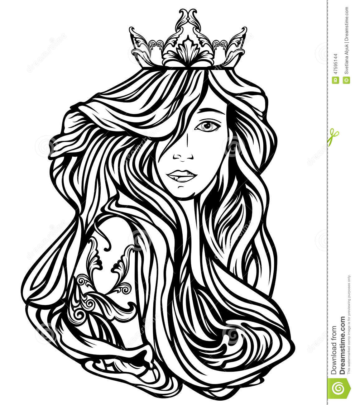Queen Portrait Stock Vector Image Of Illustration Lady