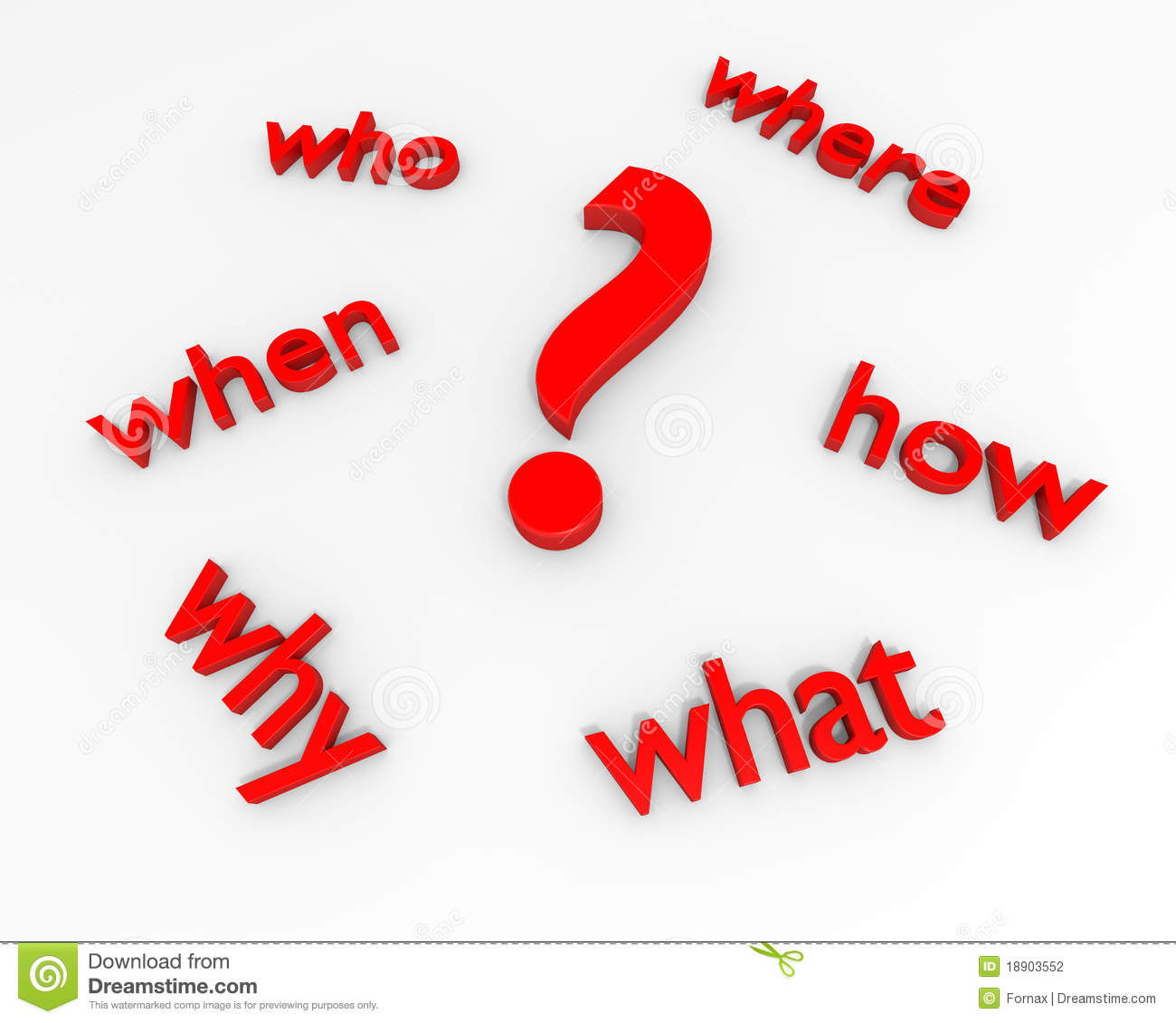 Question Mark With Five W S Stock Photography