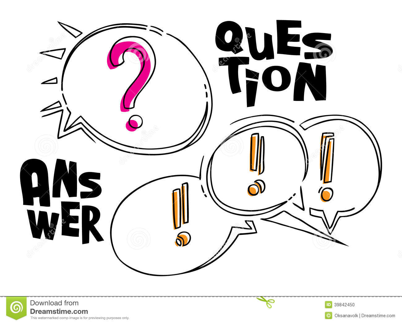 Questions And Answer Funny Style Bubbles On White Stock