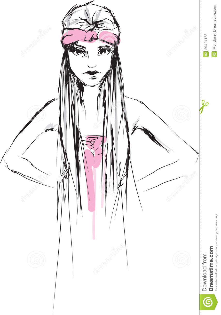 Quick Fashion Sketch Young Girl Stock Illustration
