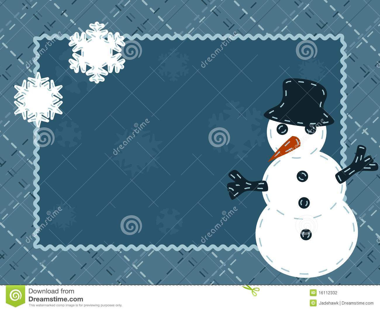 Quilted Winter Postcard With A Snowman Stock Vector