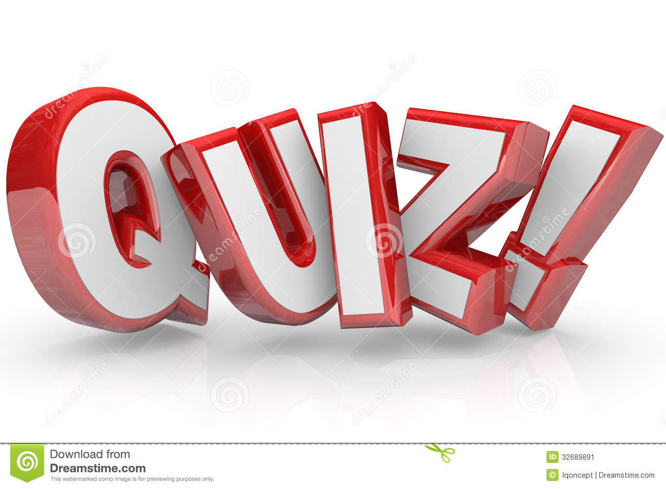 Quiz Red 3d Word Test Exam Assessment Stock Illustration